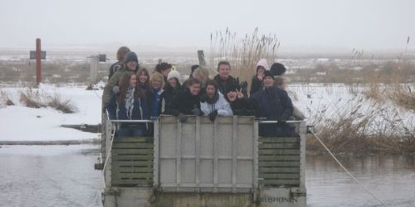 Students from Vestjysk Gymnasium Tarm on a field trip to Skjern River with Ringkoebing-Skjern Museum.