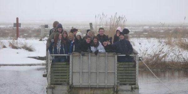 Students from Vestjysk Gymnasium Tarm on a field trip to Skjern River with Ringkoebing-Skjern Museum.